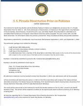 S.S.Pirzada Dissertation Prize on Pakistan